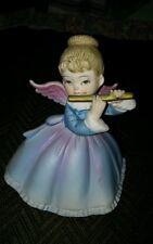 VINTAGE BEAUTIFUL LEFTON BLUE PURPLE FEMALE ANGEL FIGURINE PLAYING FLUTE KW4992