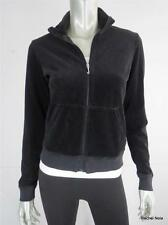 JUICY COUTURE L Black Velour Full Zip Mock Neck Coat Jacket Large EUC