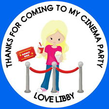 FILM, MOVIE, CINEMA  PERSONALISED GLOSS, BIRTHDAY PARTY STICKERS,LABELS (4514)