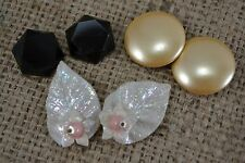 COLLECTION OF VINTAGE 1960s clip EARRINGS 3 pairs job lot large pearl leaf glass