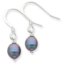 925 Sterling Silver Polished Black Cultured Freshwater Pearl Dangle Earrings