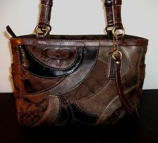 COACH PATCHWORK SIGNATURE Gallery Tote Purse Brown Mosaic Leather Fabric 13516