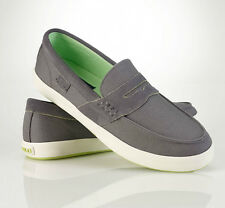 Men's Polo Ralph Lauren Evan II Canvas Loafer  Grey-Lime   Size:  8D
