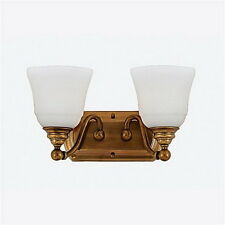 Empire Brass And Opal Etched Glass 2 Light Bath Wall Fixture