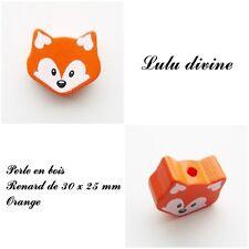 Perle en bois de 30 x 25 mm, Perle plate moyenne Tête de renard : Orange