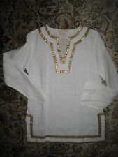 Michael Kors Collection Couture white linen gold blouse 4 Small