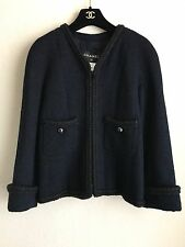 13A Chanel Classic Black Dark Navy Wool Tweed Jacket 38 36