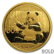2017 Gold 50 Yuan Chinese Panda .999  - 3 g (Sealed)