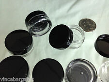 12 Cosmetic Jars Empty Plastic Sample Beauty Containers Black Cap 3 ml 3 Gram .