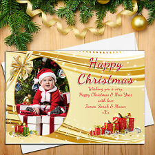 10 Personalised Gold Happy Xmas Christmas PHOTO Post Cards D27