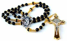 Onyx Agate Gemstone Catholic Rosary w/Gold Crucifix, Blessed Virgin Mary Center