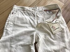 Moncler Cotton White Summer Jeans Size 48 Straight Leg Italy 31x32
