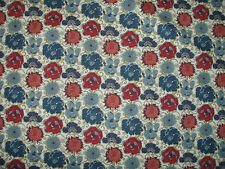 "LIBERTY COTTON POPLIN FABRIC DESIGN ""Lucy Daisy""  2 METRES (200 CM) RED & BLUE"