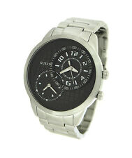 BRAND NEW GUESS U13616G1 SILVER STEEL BLACK MULTIFUNCTION DIAL MEN'S WATCH