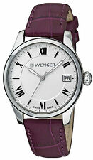 Wenger Swiss Army 0521.103 Terragraph Silver Aubergine Leather Watch Womens
