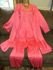 Shadowline Pink 3 Piece Nylon PAJAMA SET and ROBE Pink Size 38 EXCELLENT