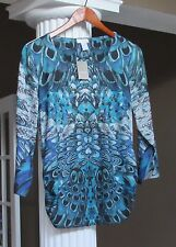 Chico's Teal Feathered Print Embellished Side Ruched Top Shirt Size 1 (8-10) NWT