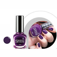 1 Bottle 12ml Sweet Color Nail Art Polish Pretty Purple Varnish Manicure A04