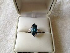 MARQUISE CUT DEEP BLUE 3.0CT. SAPPHIRE/WHITE SAPPHIRE RING SIZE 7 IN SS925