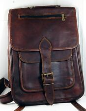 "Handmade Leather 16"" Backpack with multiple Pockets laptop sleeve/case"