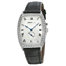 Breguet Heritage Silver Dial 18kt White Gold Diamond Black Leather Mens Watch