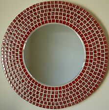 NEW LARGE MODERN ROUND WALL MOUNTED BEVELLED GLASS HANDMADE RED  MOSAIC MIRROR
