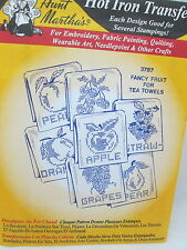 Aunt Martha's Hot Iron On Transfers - Fancy Fruit for Tea Towels #3787