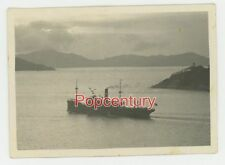 Pre WW2 1933 Photograph China Hong Kong Harbor Scene Ship Mountains View