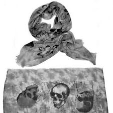 NEW Large Fashion Gray Skull Punk Womens Long Scarf Shawl USA SHIP