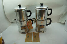 VINTAGE ALUMINUM DRIP COFFEE POT MAKER LOT 2 CAMPING STOVE TOP 12 CUP SEARS