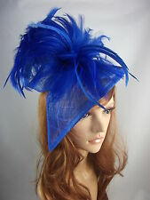 Royal Blue Sinamay & Feathers Twist Fascinator - Occasion Wedding Races