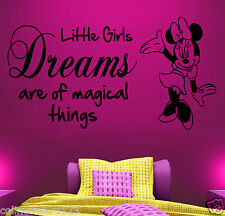 Minnie Mouse Walt Disney Vinyl WallArt Quote Sticker Girls Childrens Bedroom 21b