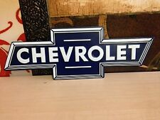 "LARGE 20"" CHEVROLET BOWTIE EMBLEM EMBOSSED METAL CHEVY SALES DEALER WALL DISPLAY"