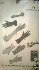 VINTAGE 40'S BUTTERICK GLOVES Sewing Pattern - Size 6 1/2
