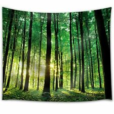 Green Forest with the Sunlight Peeking Through the Trees-Fabric Tapestry- 88x104