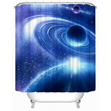 Planet Stars Solar System Blue Colour Bathroom Shower Curtain Polyester Hooks