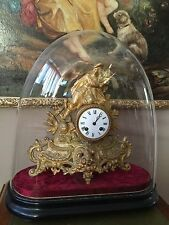 19th century french ormolu bracket clock under glass dome
