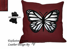 1X DARK RED LUXURY GENUINE LEATHER CUSHION BLACK SUEDE BUTTERFLY DESIGN SEWED ON