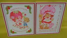 2 Vintage Strawberry Shortcake And Friends Framed Glass Wall Art Work NICE!