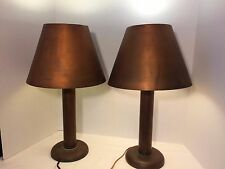 Pair Mid Century Copper Table Lamps Bedside Living Room Lamp Light Diffuser