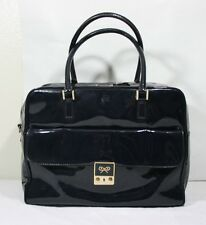 ANYA HINDMARCH NAVY PATENT LEATHER CARKER HANDBAG ZIP TOP BAG  BOXY SATCHEL