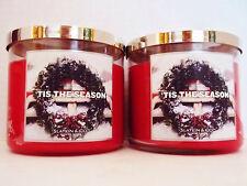Bath Body Works Slatkin TIS THE SEASON 3-wick Candles 14.5 oz.,  NEW x 2