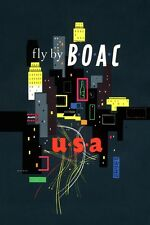MID CENTURY EAMES ERA BOAC AIRLINES TRAVEL TO USA POSTER A3 REPRINT