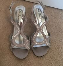Lulu Townsend Crystal Rhinestone Silver High Heel Shoes 7
