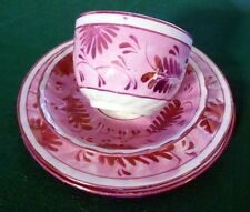 """Antique Staffordshire Pink Copper Luster Cup, Saucer, 2  6 3/4""""Plates Fern Motif"""