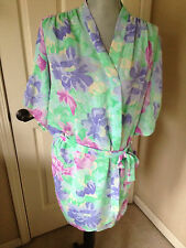 Vintage Women's Val Mode Robe KIMONO Floral Sheer Sexy Large Green Purple EUC