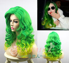 Popular Mix Green Yellow Wig Lady Gaga Hair Curly Women Party Full Cosplay Wigs