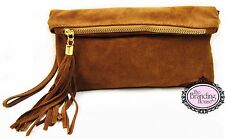 ladies Italian vera pelle suede tassel leather clutch bag wrist shoulder