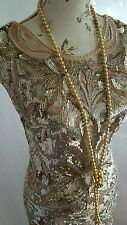 Vtg 1920,s style Downton Gatsby nude gold beaded wedding flapper dress size 10