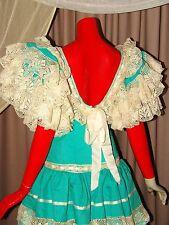 Authentic Spanish Dropped Waist Tiered Flamenco Dress by Maria Isabel Ruiz SZ S